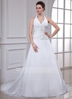 Wedding Dresses - $176.99 - A-Line/Princess Halter Chapel Train Chiffon Wedding Dress With Embroidery Beadwork Sequins (002000549) http://jjshouse.com/A-Line-Princess-Halter-Chapel-Train-Chiffon-Wedding-Dress-With-Embroidery-Beadwork-Sequins-002000549-g549