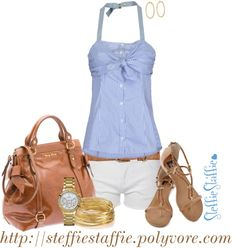 """Blue Striped Halter, Gold & Cognac"" by steffiestaffie on Polyvore"