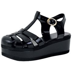 Womens Platform Sandals Jelly Adjustable Strap Casual Comfort Shoes... (195 ARS) ❤ liked on Polyvore featuring shoes, sandals, black, black shoes, black sandals, black platform sandals, jelly shoes and synthetic shoes