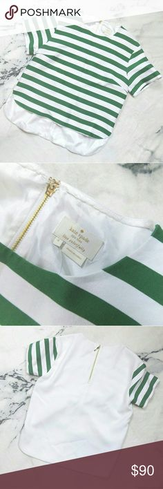 Kate Spade Ramona Green & White Striped Top Kate Spade Ramona Green & White Striped Top, size 4 and in great condition! The last photo shows a zoomed-in photo of a little dark spot, but it's on the green stripe and blends in - not noticeable when wearing. Offers are welcome!  Thanks for checking out my closet! :) kate spade Tops