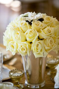 yellow rose centerpiece bouquet - real wedding photo by Orange County photographers Boutwell Studio Yellow Rose Bouquet, White Roses, Yellow Flowers, Pastel Yellow, Mellow Yellow, Rose Centerpieces, Wedding Photo Gallery, Rose Cottage, Yellow Cottage