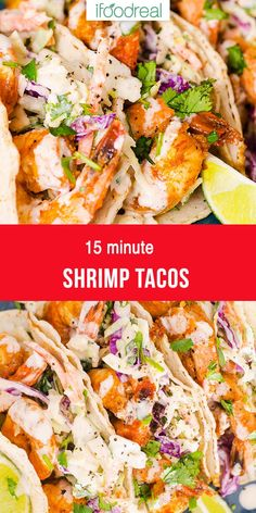 Easy 15 Minute Shrimp Tacos with spicy shrimp, creamy slaw and yummy sauce wrapped in warm tortilla. The best you ever tried! Easy 15 Minute Shrimp Tacos with spicy shrimp, creamy slaw and yummy sauce wrapped in warm tortilla. The best you ever tried! Shrimp Recipes For Dinner, Shrimp Recipes Easy, Healthy Dinner Recipes, Mexican Food Recipes, Cooking Recipes, Easy Tasty Meals, Simple Shrimp Taco Recipe, Taco Ideas For Dinner, Meals With Shrimp
