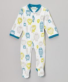 Take a look at this White & Blue Owl Organic Footie - Infant by Nohi Kids on #zulily today!