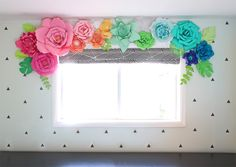 Whimsical Paper Flower Window Treatment