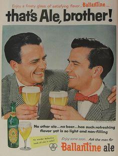 Ballantine Ale Beer 1954 Vintage Advertisement 1950s Twin Men Ad