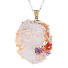 161-126 - Gems en Vogue Limited Edition Carved Shell Cameo & Multi Gemstone Pendant w/ Chain
