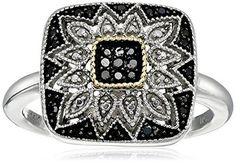 #blackdiamondgem Sterling Silver and 14kt Gold Square Shape Black Diamond Mosaic Ring (1/7 cttw), Size 7by Amazon Collection