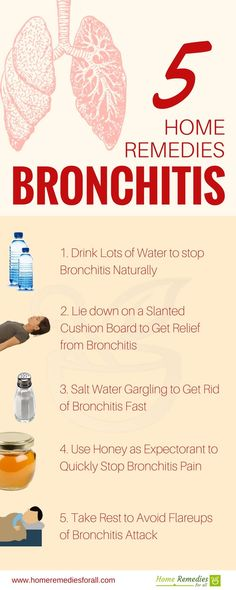 Get rid of bronchitis with 5 home remedies. Each remedy is easy to follow and very effective in clearing your lungs of bronchitis.