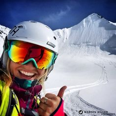 Amie Engerbreston just moments after her very first AK line. Filming with Warren Miller Entertainment in 2015.