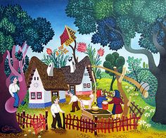 Chatting by the Well by Laszlo Koday - GINA Gallery of International Naive Art