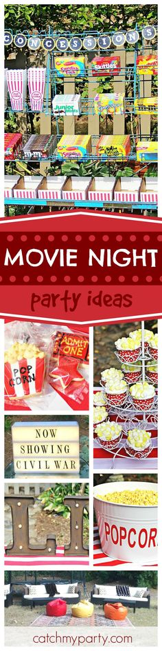 Grab your popcorn and enjoy this great outdoor movie party! The popcorn cupcakes are so cool! See more party ideas and share yours at CatchMyParty.com