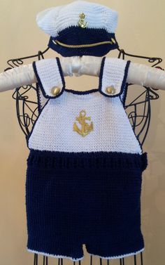 Crocheted Nautical/ Navy Ship Ahoy Boys by Hummingbirdcrochet, $65.00