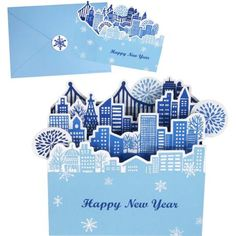 New Year Town card set,Craft Cards,Card,new year,night view,season,town,building,present,fireworks