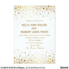 Confetti Gold Dots Elegant Wedding Invitation