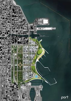The Big Shift imagines a scenario wherein Chicago embraces the lakefront's laten… The Big Shift imagines a scenario wherein Chicago embraces the lakefront's latent potential by proposing a dramatic infrastructural transformation. Urban Design Concept, Urban Design Diagram, Urban Design Plan, Masterplan Architecture, Landscape Architecture Design, Architecture Diagrams, Rpg Map, City Layout, Master Plan