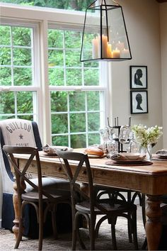 My table & chairs Dining Room Light Fixtures, Fixture Table, Garage Door Design, Rustic Table, Dining Room Design, Dining Table, Dining Rooms, Dinning Nook, Dining Sets