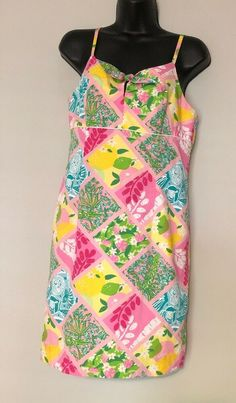 e91c06188d8432 Lilly Pulitzer Womens Dress size 8 Patchwork Bow Spaghetti Straps Lined # LillyPulitzer #ShiftDress
