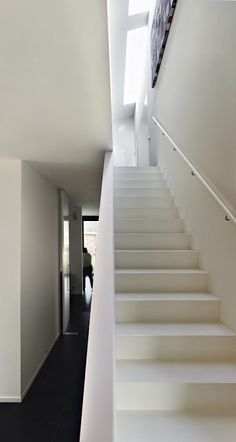 White stairs, painted runners