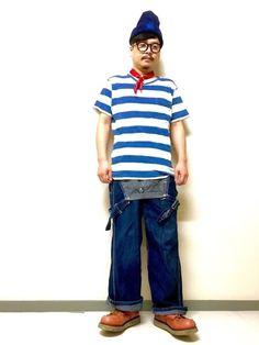 ボーダーTは約1000円。ニット帽、スカーフはBLUEBLUE、ここの小物は結構安く品も良い。雑誌f