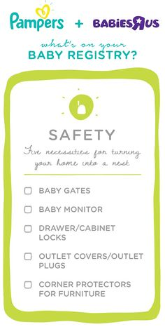 Make sure you have everything you need for your newborn with this helpful registry checklist for baby safety essentials. From baby gates and monitors to outlet covers and corner protectors for the furniture—this list of new-mom must-haves may help you feel more prepared to bring home your little one and help your friends and family discover great baby shower gift ideas.