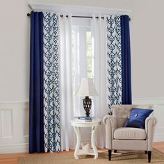 """Thermalogic™ """"Allegra"""" patterned (curtains) Grommet Top Insulated Curtains shown with Thermalogic™ Grommet Top Insulated Curtain in Navy color, & white tab top curtains in center. Like the curtains, not the top. Living Room Windows, Home Living Room, Living Room Designs, Window Treatments Living Room, Blue Curtains Living Room, Ideas For Window Treatments, Navy Curtains Bedroom, Living Area, Layered Curtains"""