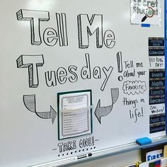 Tell me Tuesday--- good idea for first days of school and establishing morning messages Classroom Activities, Classroom Organization, Classroom Ideas, Literacy Games, Teacher Hacks, Teacher Stuff, Daily Writing Prompts, Narrative Writing, Morning Board