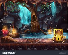 Illustration Fantasy Cave With A Waterfall, A Tree And A Treasure Chest - 252999478 : Shutterstock