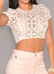 """""""Do one of those 'over-a-tank-top' cropped tops in lace!"""" <3"""