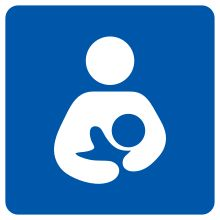 international symbol for breastfeeding being allowed/encouraged. Great to find on a store window!