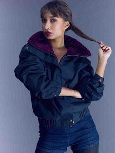 PREORDER SALE: The Nicole Waxed Insulated Winter Bomber - Black w/Berr | VauteCouture
