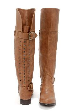 Frontline Tan Studded Knee High Riding Boots
