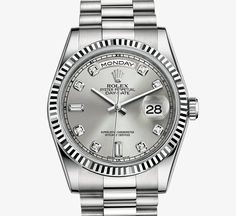 Rolex Day-Date Watch: 18 ct white gold, diamond