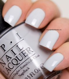OPI 'I Cannoli Wear OPI' ~ perfect light grey ~ excellent coverage 2 coats ~ one shade darker than My Boyfriend Scales Walls ~ swatch by My Nail Polish Online Nagellack opi OPI - I Cannoli Wear OPI - My Nail Polish Online Nail Polish Style, Opi Nail Polish Colors, Grey Nail Polish, Gray Nails, Opi Nails, Opi Polish, Light Nail Polish, Light Nails, Nail Polishes