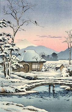 Tokaido Yaizunohara (Yaizu in Snow), by Tsuchiya Koitsu, 1935
