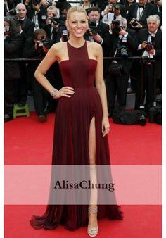 Blake Lively Burgundy Chiffon Celebrity Dress Prom  'Grace of Monaco' Cannes 2014