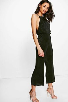 046b200ef9f Boohoo Plisse Drop Arm Culotte Jumpsuit Black Size UK 14 rrp 20 DH180 JJ 09