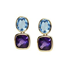 Blue topaz and amethyst Drop Earrings in yellow gold. www.geewoods.com