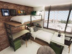 Bunk Beds - Receive The Furniture You Want With These Tips Bunk Bed With Desk, Bunk Beds With Stairs, Bedroom Bed, Bedroom Decor, Loft Spaces, Diy Bed, Modern Room, Small Rooms, Interior Design