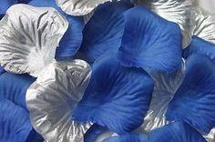 100 x SILVER and ROYAL BLUE SILK ROSE PETALS WEDDING CONFETTI TABLE DECOR UK
