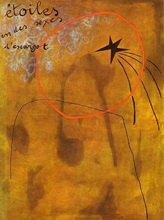 """Joan Miro. """"Stares In Snails' Sexes"""", 1925. Oil on canvas."""
