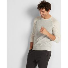 Express Reversible Crew Neck Sweater ($48) ❤ liked on Polyvore featuring men's fashion, men's clothing, men's sweaters, grey, men's color block sweater, mens cotton cardigan sweaters, mens sweaters, mens crew neck sweaters and mens cotton sweaters