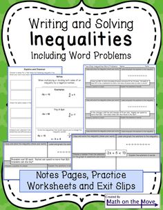 Writing and Solving Inequalities (Including Word Problems) Algebra 1 Textbook, Algebra 2, Math Exercises, 7th Grade Math, Math Lessons, Math Tips, Word Problems, Math Classroom, Math Activities