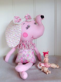 Elephant Doll Featuring Liberty Fabric / Tatum Floral Print / Hand-stitched facial features / Lovingly handmade in Australia / Pink Floral Girls Baby Shower Gift Present / Nursery Bedroom Decor Style.   Shop Rhapsody and Thread via Etsy.