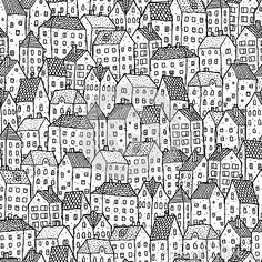 Houses Cityscape Coloring Page
