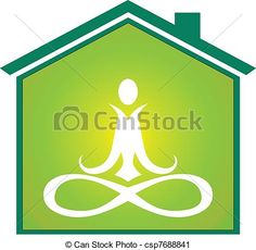 Vector - Yoga house icon - stock illustration, royalty free illustrations, stock clip art icon, stock clipart icons, logo, line art, EPS picture, pictures, graphic, graphics, drawing, drawings, vector image, artwork, EPS vector art