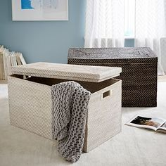 Modern Weave Storage - Large Lidded Basket #westelm I want this basket but I am not paying $389 for it!! #thatscrazy