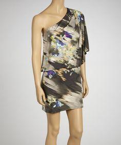 Ash & Purple Watercolor Asymmetrical Dress by Jessica Simpson