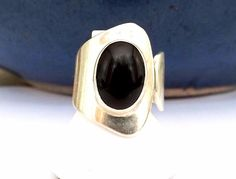 Sterling Silver 925 Black Onyx Mexico Wide Band Modernist Designer Size 7 Ring #ATI #TaxcoRing #MexicanSterling #SterlingJewelry #JewelryForSale #SouthwestRing #SouthwesternJewelry #DesignerRing #DesignerJewelry #ModernistRing #InstaJewelry