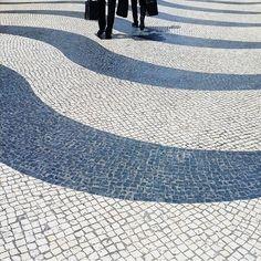Wave-patterned mosaic pavement at Senado Square | photo by @nunoassis #WowMacao