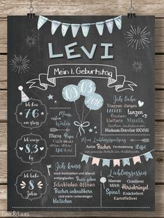 LoveAndLilies.de   Baby Chalkboard zum 1. Geburtstag für Jungen in hellblau/peach - Geburtstagstafel / Plakat für den Kindergeburtstag im Retro Design